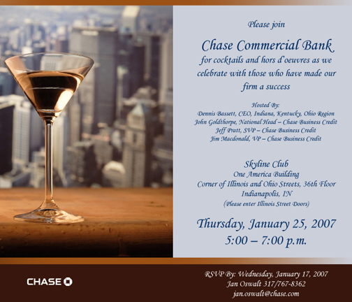 Chase Bus Credit Cocktail Invitation